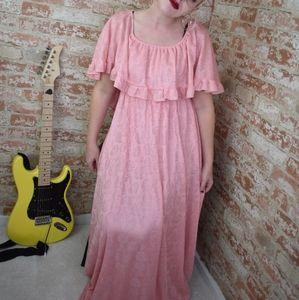 Vintage Pink Floral Rose Lace Dress